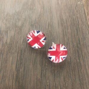 Union Jack British flag UK pride studs earrings